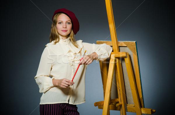 Funny artista de trabajo estudio marco arte Foto stock © Elnur