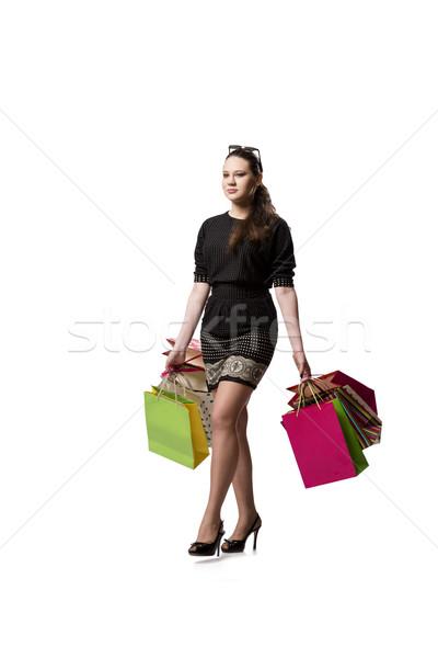 Glücklich Frau gut Warenkorb isoliert weiß Stock foto © Elnur