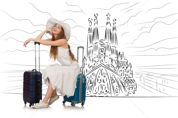 The young woman travelling to spain to see sagrada familia Stock photo © Elnur
