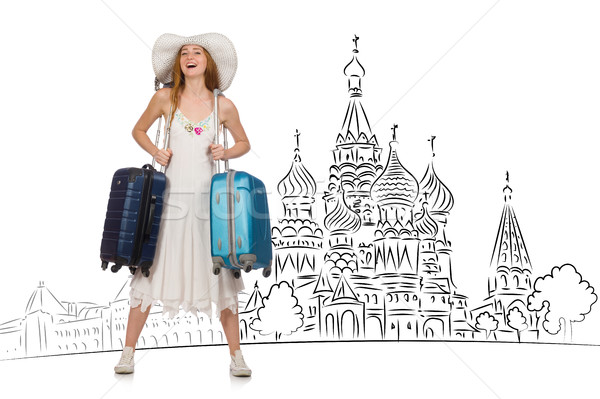 Jovem turismo menina feliz moda fundo Foto stock © Elnur