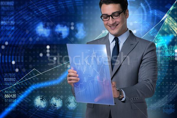 Işadamı borsa ticari Internet adam çalışmak Stok fotoğraf © Elnur