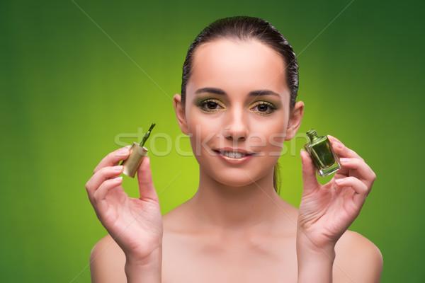 Fiatal nő szépség zöld lány kezek modell Stock fotó © Elnur