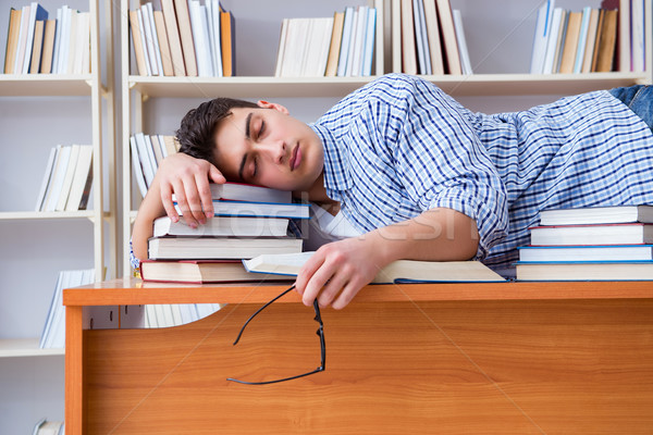 Young student taking break and falling asleep Stock photo © Elnur