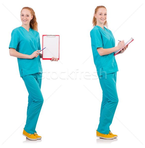 The woman-doctor with binder  isolated on white Stock photo © Elnur