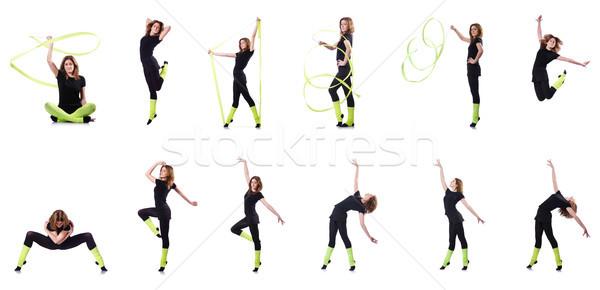 小さな 体操選手 行使 白 女性 少女 ストックフォト © Elnur