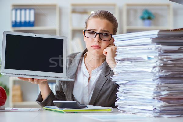 Stock fotó: Fiatal · üzletasszony · könyvelő · dolgozik · iroda · számítógép