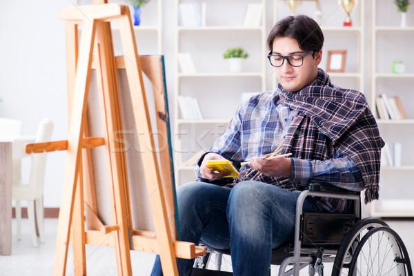 инвалидов художник Живопись фотография студию студент Сток-фото © Elnur
