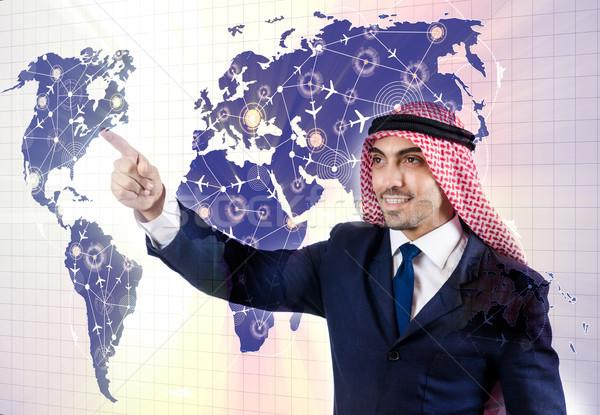 The arab man in world travel concept Stock photo © Elnur