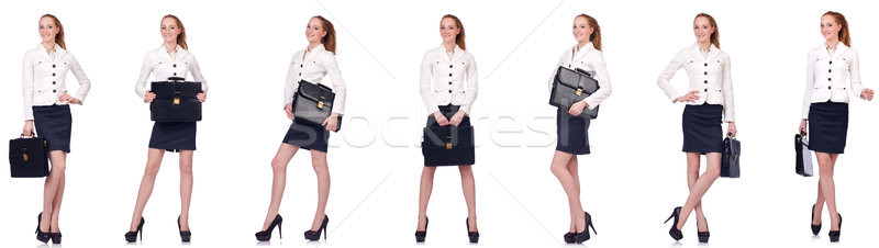 The businesswoman with briefcase isolated on white Stock photo © Elnur
