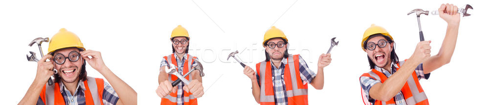 Funny construction worker with hammer and wrench isolated on whi Stock photo © Elnur