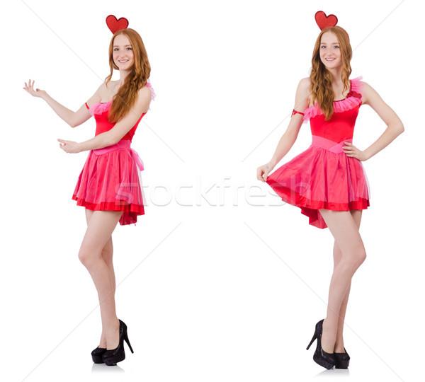 Csinos fiatal modell mini rózsaszín ruha Stock fotó © Elnur