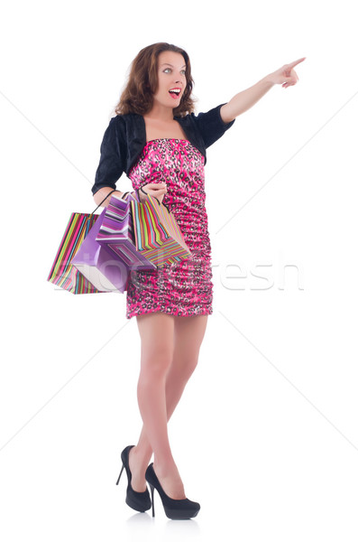 Girl after good shopping on white Stock photo © Elnur