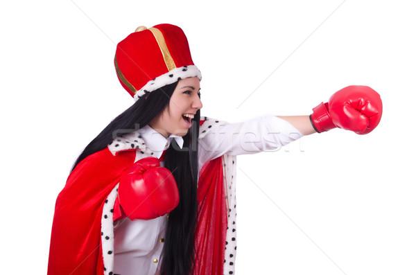 Stockfoto: Vrouw · koningin · bokshandschoenen · werk · zakenman · vak