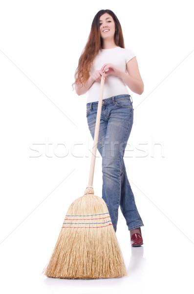 метлой белый женщину дома рабочих Сток-фото © Elnur