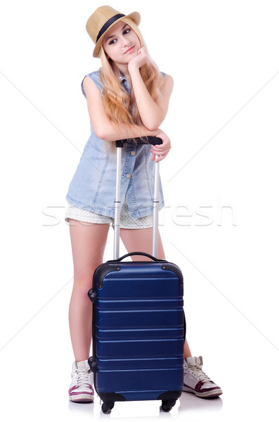 Young girl traveller isolated on white Stock photo © Elnur