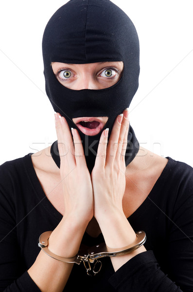 Young female criminal with handcuffs Stock photo © Elnur