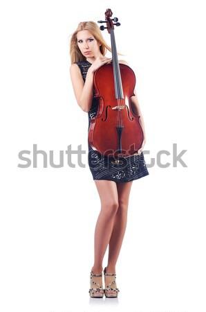 Female guitar performer isolated on white Stock photo © Elnur