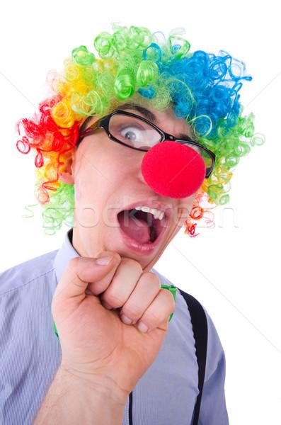 Vicces fickó bohóc paróka fehér buli Stock fotó © Elnur