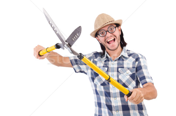 Funny guy with garden shears on white Stock photo © Elnur