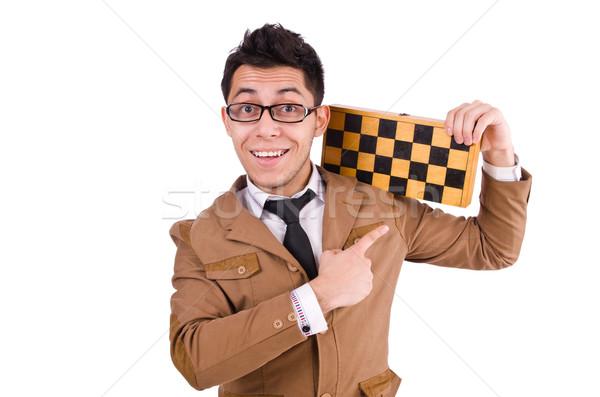 Vicces sakk játékos izolált fehér kéz Stock fotó © Elnur