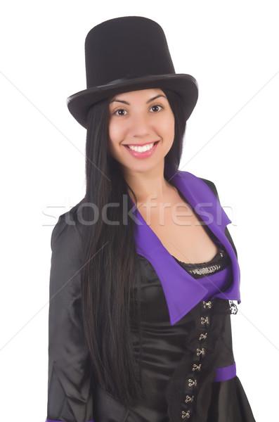 Mulher preto violeta vestir isolado branco Foto stock © Elnur