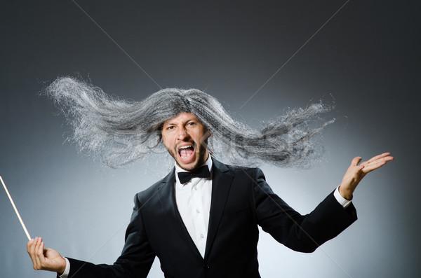 面白い 長い 白髪 手 男 背景 ストックフォト © Elnur