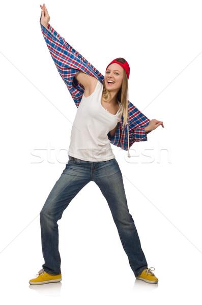 Nő táncos izolált fehér buli tánc Stock fotó © Elnur