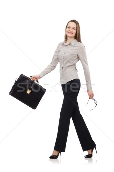 Business lady with case isolated on white Stock photo © Elnur