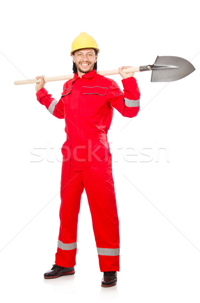 Man in red coveralls with spade Stock photo © Elnur