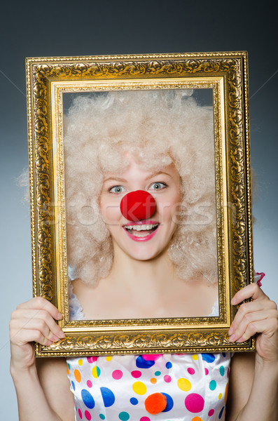 Vicces bohóc képkeret mosoly arc keret Stock fotó © Elnur