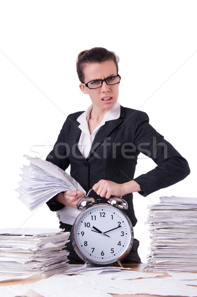 Photo stock: Femme · femme · d'affaires · stress · manquant · horloge