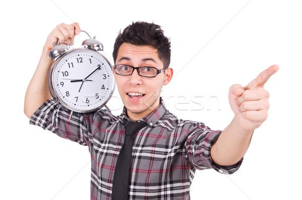 Zdjęcia stock: Człowiek · zegar · spełniają · ostateczny · termin · odizolowany · biały · człowiek