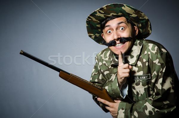 Komik asker karanlık adam arka plan yeşil Stok fotoğraf © Elnur