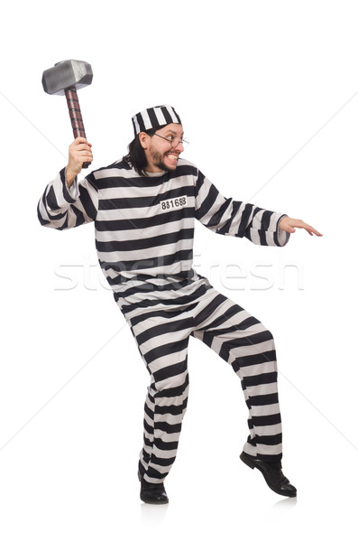 Prison inmate with hammer isolated on white Stock photo © Elnur
