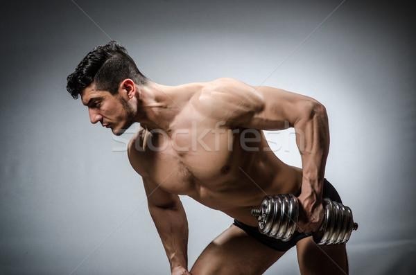 Сток-фото: мышечный · Культурист · гантели · спорт · фитнес · здоровья