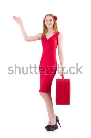 かなり 若い女の子 赤いドレス 孤立した 白 ストックフォト © Elnur