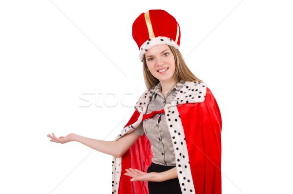 Foto stock: Mulher · bonita · coroa · vermelho · casaco · isolado