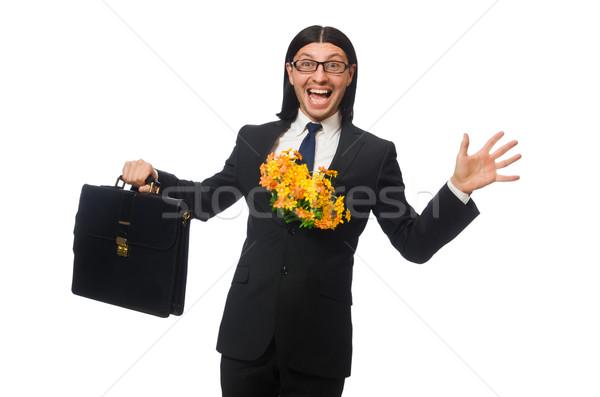 красивый бизнесмен цветок короткий случае изолированный Сток-фото © Elnur