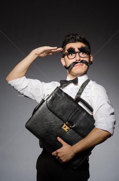 Jonge man vals snor geval geïsoleerd Stockfoto © Elnur