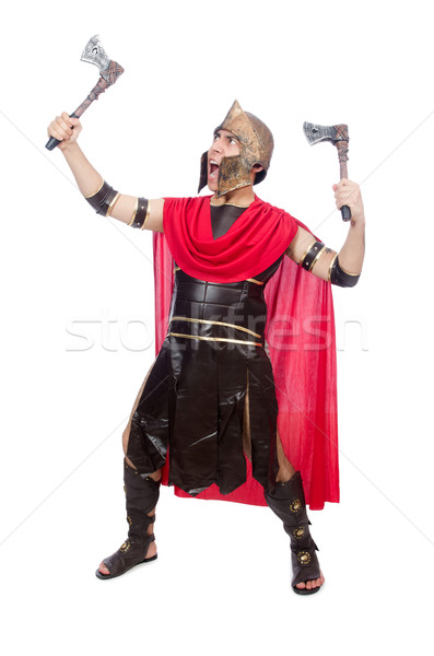 Gladiator with ax isolated on white Stock photo © Elnur