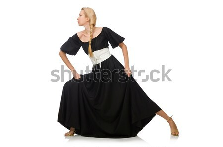 Tall woman in long black dress isolated on white Stock photo © Elnur