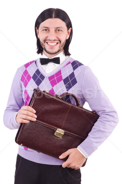 Smiling man with briefcase isolated on white Stock photo © Elnur
