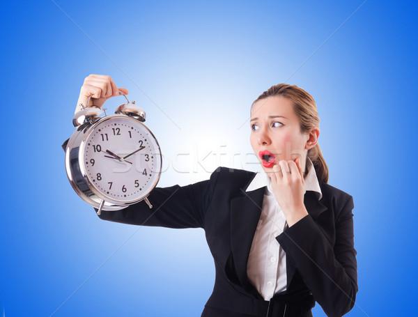 Foto stock: Mulher · empresária · gigante · relógio · trabalhar · empresário