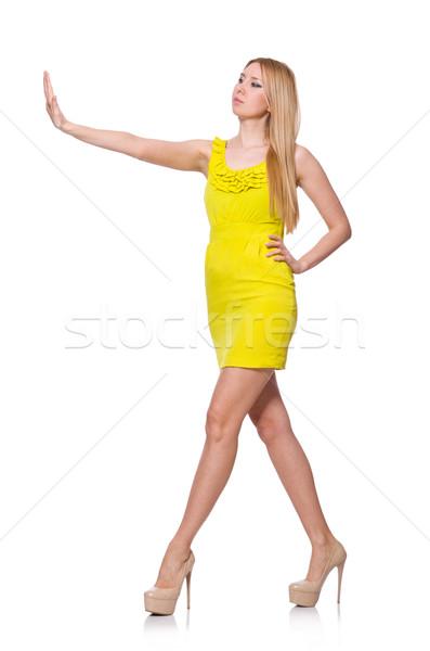 Stock fotó: Csinos · magas · nő · rövid · citromsárga · ruha