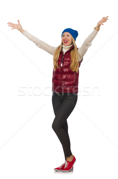 Blond hair girl in bordo vest isolated on white Stock photo © Elnur