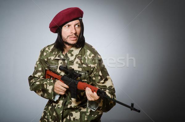Soldado pistola gris arma retrato negro Foto stock © Elnur