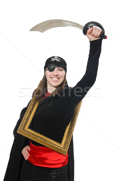Female pirate with sword and photo frame isolated on white Stock photo © Elnur