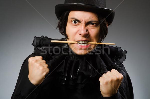 Vicces bűvész visel henger kalap lány Stock fotó © Elnur