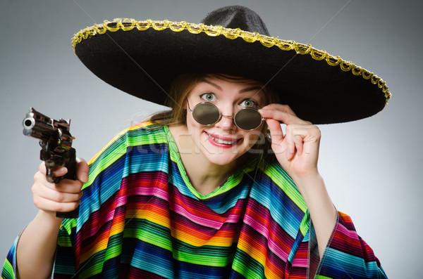 Lány mexikói élénk kézifegyver szürke háttér Stock fotó © Elnur