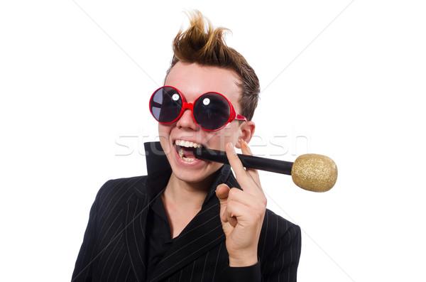 Zingen man karaoke partij haren achtergrond Stockfoto © Elnur